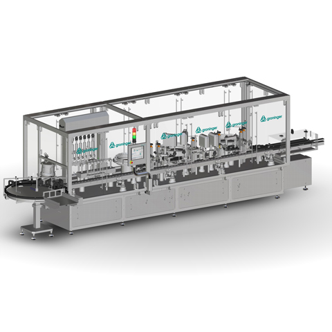Fully automatic filling and closing machine for syrups in glass and plastic bottles